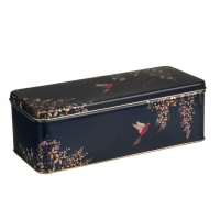 Hummingbird Print on a Navy Blue Rectangular Tin by Sara Miller